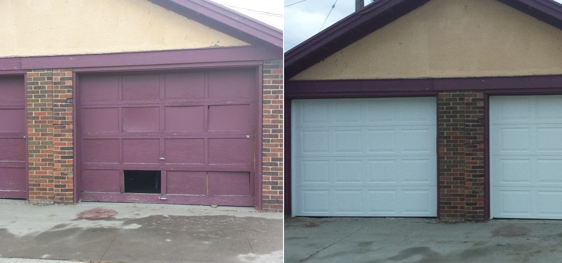 before and after - new garage door