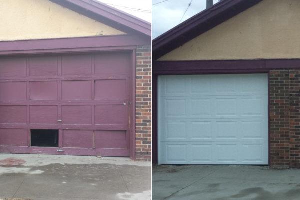 before and after - new garage door